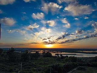 beautiful sunset on rivers
