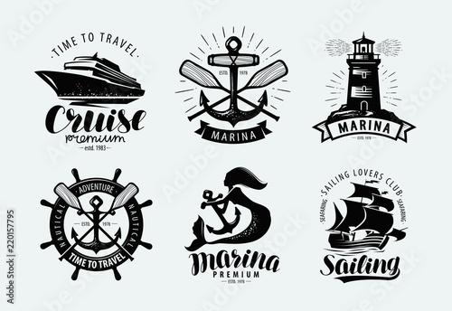 Marina, sailing, cruise logo or label. Marine themes, set of emblems. Vector