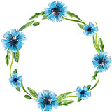 Round frame of watercolor blue wild flowers on a white background