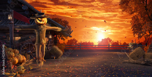 Fall in backyard with leaves falling from trees and Halloween pumpkin scarecrow, autumn background 3D Rendering © hd3dsh