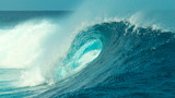 CLOSE UP: Foaming ocean water splashes high in the sky near big barrel wave. - 220164533