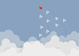 Business concept. Red paper leader airplane flying on blue sky of business teamwork and one different vision. Leader, New idea, boss, manager, winner concept, trend. Vector illustration - 220169974