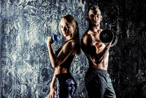 Leinwanddruck Bild sporty and healthy couple