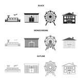 Airport, bank, residential building, ferris wheel. Building set collection icons in black,monochrome,outline style vector symbol stock illustration web. - 220186368