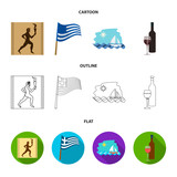 Greece, running, wine, flag .Greece set collection icons in cartoon,outline,flat style vector symbol stock illustration web.