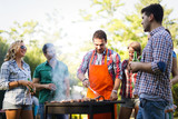 Happy students having barbecue on summer day