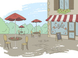 Street cafe graphic color exterior sketch illustration vector - 220193163