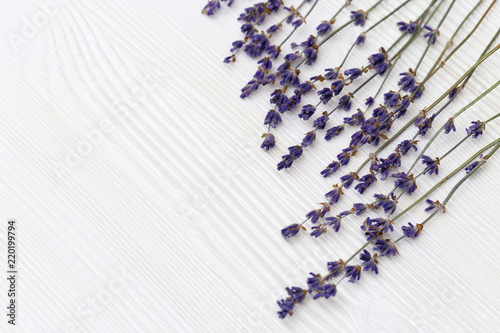 Dried flowers of lavender on white wooden background with copy space. Selective focus. Top view. Frame with lavander. © yrabota