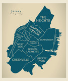 Modern City Map - Jersey New Jersey city of the USA with neighborhoods and titles - 220199988