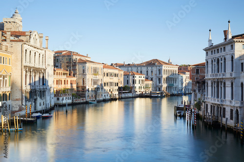 Grand Canal in Venice, clear blue sky in a summer morning in Italy