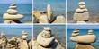 Leinwandbild Motiv Steinskulptur am Strand
