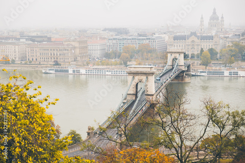 old chain bridge cross danube river. budapest, hungary
