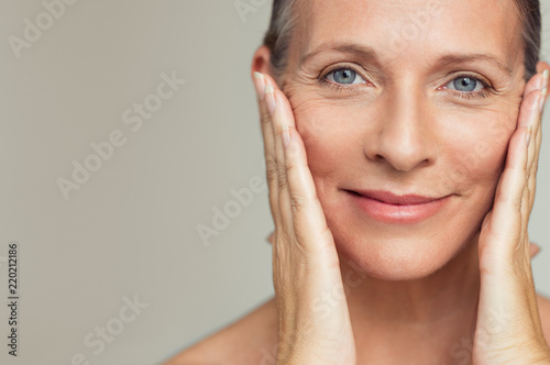 canvas print picture Happy mature woman aging process
