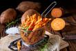 Leinwanddruck Bild - crispy sweet potato fries from the oven