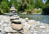Zen blanced stone stack on a river