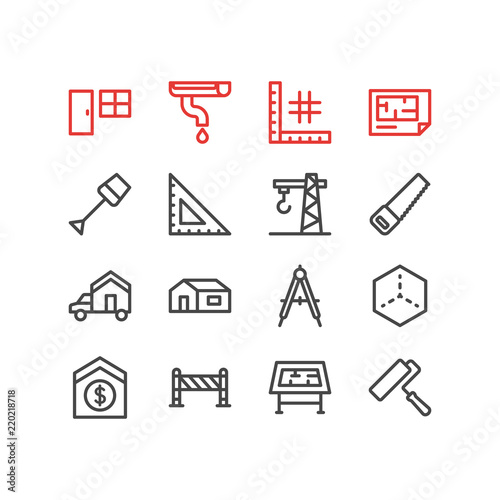 Fototapeta samoprzylepna Vector illustration of 16 industry icons line style. Editable set of drawing table, sell house, moving and other icon elements.