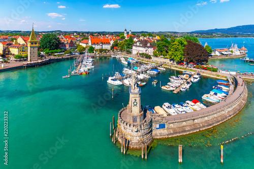 Leinwanddruck Bild Aerial view of Lindau, Bodensee, Germany