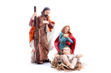Christmas nativity scene with Holy Family, isolated on white background - 220223793