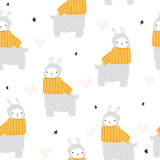 Childish seamless pattern with cute llama and yellow scarf. Vector hand drawn illustration. - 220224145