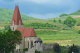 A brick church with a red steeple stands out against a background of terraced grapevines and a blue sky. In front is an old wall with a guard tower. - 220224365