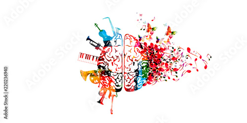 Colorful human brain with music notes and instruments isolated vector illustration design. Artistic music festival poster, live concert, creative music notes, listening to music © abstract