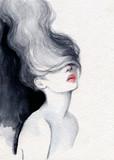 beautiful woman. fashion illustration. watercolor painting - 220242311