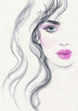 beautiful woman. fashion illustration. watercolor painting - 220242570