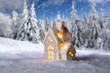 Kleines Haus vor Winterlandschaft - 220246181