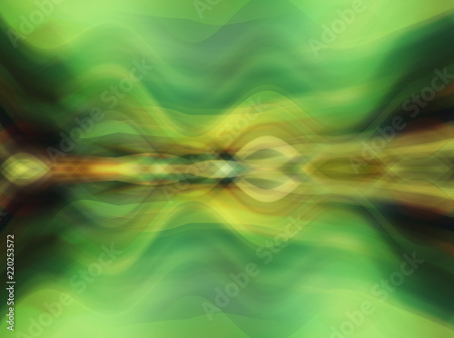 Abstract green multicolored background with fractal waves. Beautiful illustration. - 220253572