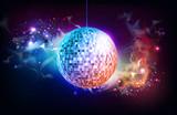 Disco ball. Disco ball on open space background - 220262180