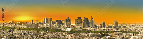 Sunset panoramic view from Eiffel tower to la Defence area in Paris - 220269713