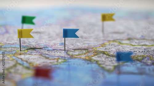 Locations marked with pins on world map, global communication network, closeup