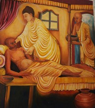 """Постер, картина, фотообои """"Buddhist wall paintings in Sri Lanka temple in Lumbini, Nepal"""""""