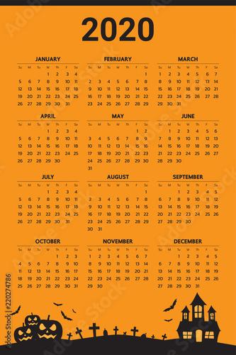 Halloween Calendar 2020 2020 Calendar with halloween theme   Vector | Buy Photos | AP