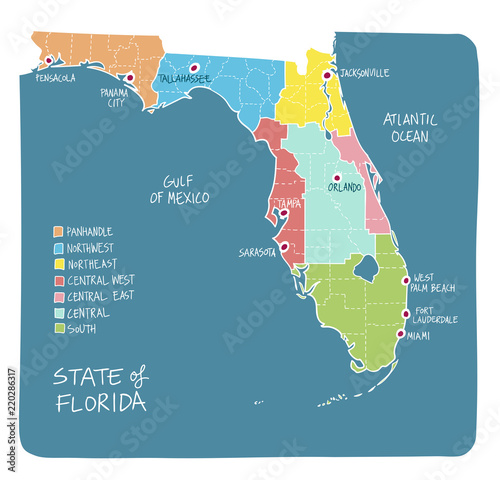Florida Map Counties.Hand Drawn Map Of Florida With Regions And Counties Buy Photos