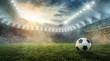 Ball liegt im Fußballstadion auf dem Rasen
