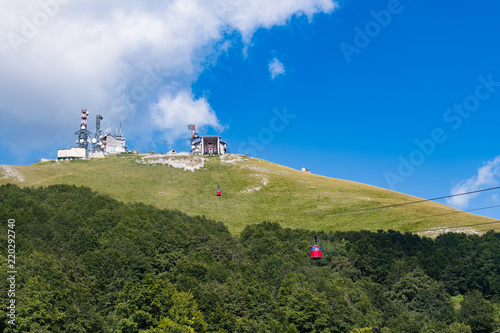 Couple of cable cars  climbing mountain © fabioderby
