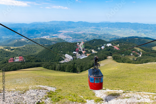 Cable car  climbing view from mountain top © fabioderby