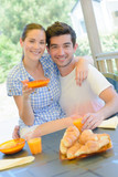 couple posing during breakfast - 220300331
