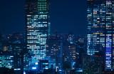 東京夜景・高層ビル群 クローズアップ