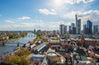 View of skyline at center business district in Frankfurt, Germany. Frankfurt is financial business center of Germany and Europe.