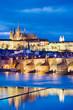 Leinwanddruck Bild - night view of Prague castle and Charles bridge over Moldau river, Lesser town, Prague (UNESCO), Czech republic