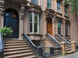 New York brownstone style apartment building or townhouse