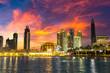 Leinwanddruck Bild - Dubai downtown at night