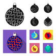 New Year Toys black,flat icons in set collection for design.Christmas balls for a treevector symbol stock web illustration.