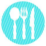 Gestreifter blauer Kreis mit Icon Besteck - 220350105