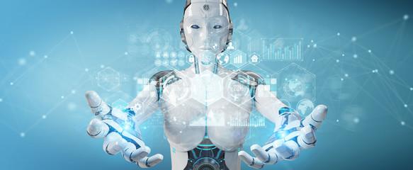 White woman cyborg using digital datas interface 3D rendering © sdecoret