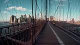 Brooklyn Bridge New York City panning shot - 220352193