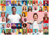 The collage of faces of surprised people on colored backgrounds - 220352742