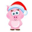 Cute cartoon vector pink pig. Animal of New Year 2019